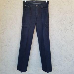 David Kahn Black Button Flap Pocket Cargo Jeans
